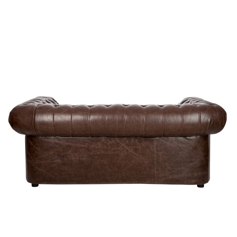 58266 sof 3 plazas polipiel marr n modelo chesterfield for Sofas de polipiel
