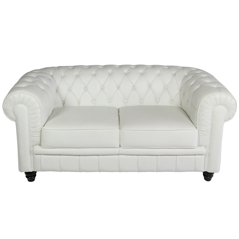 32688 sof 2 plazas polipiel blanco modelo chesterfield for Como limpiar un sofa de polipiel blanco